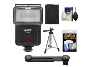 Vivitar SF-4000 Auto Bounce Zoom Slave Flash with Bracket + NP-FW50 Battery + Tripod + Cleaning Kit for Sony Alpha A3000, A5000, A6000, NEX-5T, 6, 7