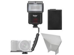 Vivitar SF-4000 Auto Bounce Zoom Slave Flash with Bracket + NP-FW50 Battery + Flash Reflector Kit for Sony Alpha A3000, A5000, A6000, NEX-5T, 6, 7