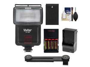 Vivitar SF-4000 Auto Bounce Zoom Slave Flash with Bracket + EN-EL20 Battery + AA Batteries & Charger Kit for Nikon 1 J1, J2, J3, S1, V3 Cameras