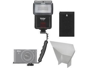 Vivitar SF-4000 Auto Bounce Zoom Slave Flash with Bracket + EN-EL20 Battery + Flash Reflector + Accessory Kit for Nikon 1 J1, J2, J3, S1, V3 Cameras
