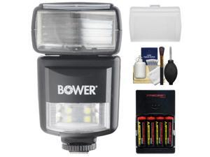 Bower SFD970 2-in-1 Power Zoom Flash & LED Video Light (for Canon EOS E-TTL) with Batteries & Charger + Diffuser + Cleaning Kit
