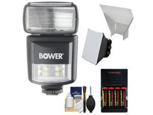 Bower SFD970 2-in-1 Power Zoom Flash & LED Video Light (for Canon EOS E-TTL) with Batteries & Charger + Diffuser + Bounce Reflector + Accessory Kit