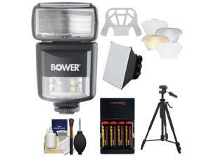 Bower SFD970 2-in-1 Power Zoom Flash & LED Video Light (for Nikon i-TTL) with Batteries & Charger + Diffusers + Tripod + Accessory Kit