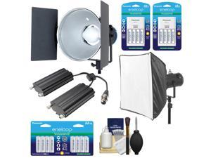 RPS Studio RS-5530 CooLED 50W High Power Light with Softbox + RS-5560 Aluminum Twin Battery Case + 24 AA Batteries & Charger Kit