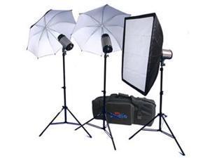 RPS Studio 600 Watt/Second SB-200 Monolite Studio Kit (RS-SB/DLK3) 3 Strobes, 2 Umbrellas, 1 Soft Box, 3 Stands, PC Cords, Wireless Flash Trigger & Case