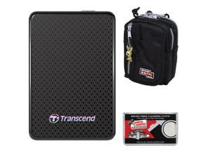 Transcend 512GB USB 3.0 ESD400 Portable Solid State Hard Drive with Case + Cleaning Cloth