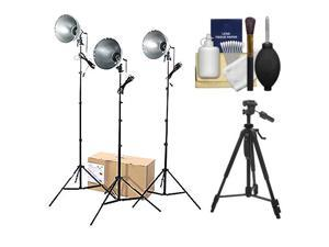 RPS Studio 3 Light Photoflood, Reflector & Stands Studio Kit (RS-4003) with Tripod + Cleaning Kit