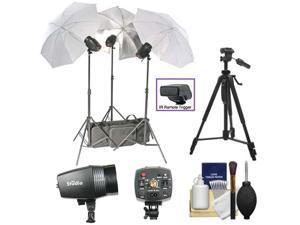 RPS Studio 540 Watt/Second SB-180 Monolite Studio Kit (RS-SB/SLK3) 3 Strobes, 3 Umbrellas, 3 Stands, PC Cords, Infrared Trigger, Case + Tripod + Cleaning Kit