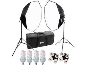 RPS Studio Hybrid Still & Video Lighting Studio Kit (RS-4085) with 2 28x28 Octagon Softboxes, 2 Stands, 4 Daylight Lamps, Socket Adapter & Case