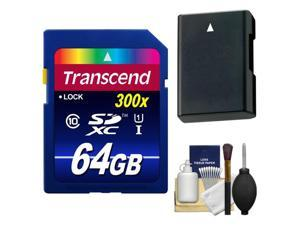 Transcend 64GB SecureDigital SDXC 300x UHS-1 Class 10 Memory Card with EN-EL14a Battery + Kit for Nikon D3100, D3200, D3300, D5100, D5200, D5300