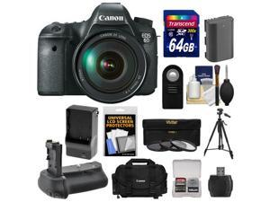 Canon EOS 6D Digital SLR Camera Body with EF 24-105mm L IS USM Lens with 64GB Card + Case + Battery & Charger + Battery Grip + Tripod + 3 UV/ND8/CPL Filters