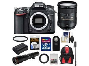 Nikon D7100 Digital SLR Camera Body with 18-200mm VR Lens + 500mm Tele Lens + 32GB Card + Battery + Backpack + Accessory Kit