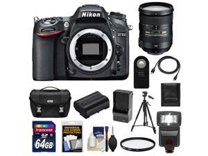 Nikon D7100 Digital SLR Camera Body with 18-200mm VR Lens + 64GB Card + Battery + Case + Flash + Filter + Tripod Kit