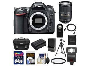 Nikon D7100 Digital SLR Camera Body with 18-300mm VR Lens + 64GB Card + Battery + Case + Flash + Filter + Tripod Kit