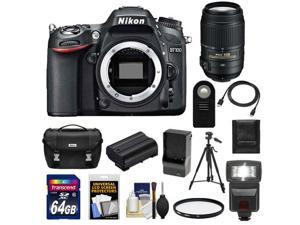 Nikon D7100 Digital SLR Camera Body with 55-300mm VR Lens + 64GB Card + Battery + Case + Flash + Filter + Tripod Kit