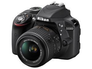 "Refurbished: Nikon D3300 24.2 Megapixel Digital SLR Camera - 18 mm - 55 mm - Black - 3"" LCD - 16:9 - 3.1x Optical Zoom - Optical ..."
