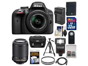 Nikon D3300 Digital SLR Camera & 18-55mm G VR DX II AF-S Zoom Lens (Black) with 55-200mm VR II Lens + 32GB Card + Battery & Charger + Case + Flash + Tripod Kit