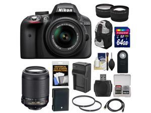 Nikon D3300 Digital SLR Camera & 18-55mm G VR DX II AF-S Zoom Lens (Black) with 55-200mm VR II Lens + 64GB Card + Backpack + Battery & Charger + Tele/Wide Lens Kit