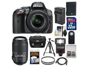 Nikon D5300 Digital SLR Camera & 18-55mm G VR DX II AF-S Zoom Lens (Grey) with 55-300mm VR Lens + 32GB Card + Battery & Charger + Case + Flash + Tripod + Kit