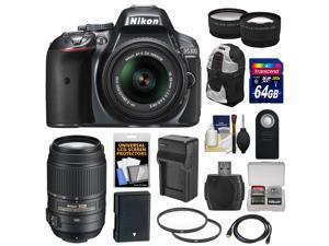 Nikon D5300 Digital SLR Camera & 18-55mm G VR DX II AF-S Zoom Lens (Grey) with 55-300mm VR Lens + 64GB Card + Battery & Charger + Backpack + Tele/Wide Lens Kit