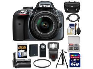 Nikon D3300 Digital SLR Camera & 18-55mm G VR DX II AF-S Zoom Lens (Grey) with 64GB Card + Battery + Case + Grip + Flash + Tripod + Kit