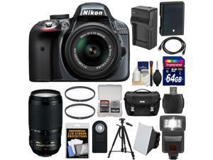 Nikon D3300 Digital SLR Camera & 18-55mm G VR DX II AF-S Zoom Lens (Grey) with 70-300mm VR Lens + 64GB Card + Case + Flash + Battery & Charger + Tripod Kit