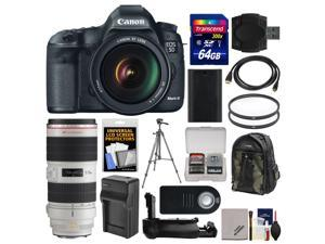 Canon EOS 5D Mark III Digital SLR Camera with EF 24-105mm L IS USM Lens & 70-200mm f/2.8 L IS II Lens + 64GB Card + Case + Battery/Charger + Grip + Tripod Kit