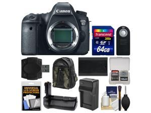 Canon EOS 6D Digital SLR Camera Body with 64GB Card + Backpack + Battery/Charger + Grip + Remote + Accessory Kit
