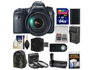 Canon EOS 6D Digital SLR Camera Body with EF 24-105mm L IS USM Lens with 64GB Card + Backpack + Battery/Charger + Grip + 3 UV/CPL/ND8 Filters Kit