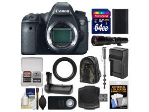 Canon EOS 6D Digital SLR Camera Body with 500mm Telephoto Lens + 64GB Card + Backpack + Battery & Charger + Grip + Monopod Kit