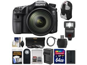Sony Alpha A77 II Wi-Fi Digital SLR Camera & 16-50mm Lens with 64GB Card + Battery + Charger + Backpack + Flash + Kit