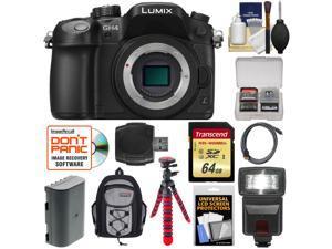 Panasonic Lumix DMC-GH4 4K Micro Four Thirds Digital Camera Body with 64GB Card + Battery + Backpack Case + Tripod + Flash + Accessory Kit