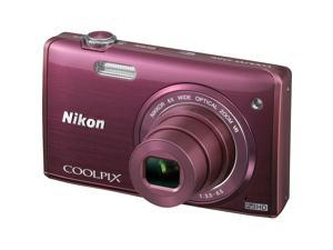 Nikon Coolpix S5200 Wi-Fi Digital Camera (Plum) - Factory Refurbished includes Full 1 Year Warranty