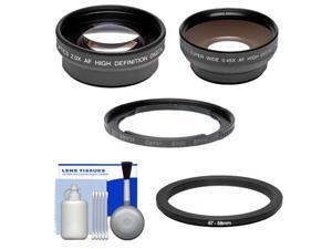 Bower FA-DC67A Adapter Ring for Canon PowerShot SX50, SX520, SX530 & SX60 HS Camera (67mm) with .45x Wide Angle & 2x Telephoto Lenses + Cleaning Kit