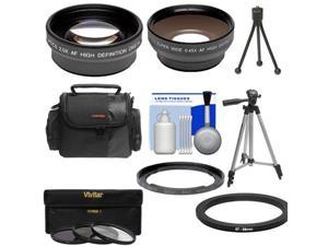 Bower FA-DC67A Adapter Ring for Canon PowerShot SX50, SX520, SX530 & SX60 HS Camera (67mm) with .45x Wide Angle & 2x Telephoto Lenses + 3 (UV/CPL/ND8) Filters + Tripod + Case + Kit