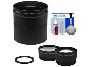 Bower AFZP200 Conversion Adapter Tube for Panasonic Lumix DMC-FZ200 Camera (67mm) with 2.5x Tele & .45x Wide Angle Lens Set + Cleaning Kit