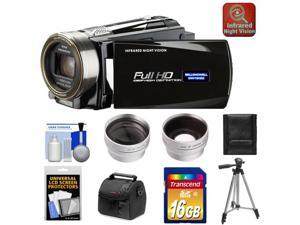 Bell & Howell DNV16HDZ 1080p HD Video Camera Camcorder with Infrared Night Vision (Black) with 16GB Card + Case + Tripod + Wide Angle & Telephoto Lenses + Accessory Kit