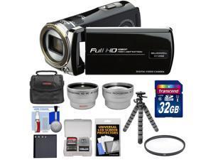 Bell & Howell DV12HDZ 1080p HD Video Camera Camcorder (Black) with 32GB Card + Battery + Case + Flex Tripod + Filter + Tele/Wide Lens Kit