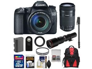 Canon EOS 70D Digital SLR Camera & EF-S 18-135mm IS STM Lens with 55-250mm IS STM & 500mm Lenses + 32GB Card + Battery + Backpack + Monopod Kit