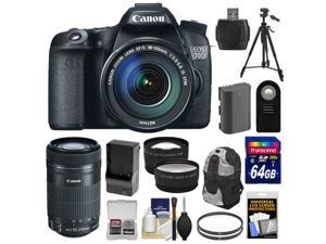Canon EOS 70D Digital SLR Camera & EF-S 18-135mm IS STM Lens with 55-250mm IS STM Lens + 64GB Card + Battery/Charger + Backpack + Tripod + 2 Lens Kit