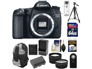 Canon EOS 70D Digital SLR Camera Body with 64GB Card + Battery & Charger + Backpack + Tripod + Tele/Wide Lens Kit