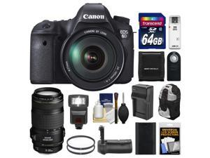 Canon EOS 6D Digital SLR Camera Body with EF 24-105mm L IS USM Lens with EF 70-300mm IS Lens + 64GB Card + Backpack + Flash + Grip + Battery & Charger Kit