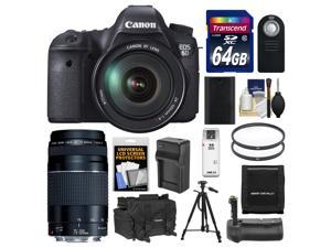 Canon EOS 6D Digital SLR Camera Body with EF 24-105mm L IS USM Lens with EF 75-300mm III Lens + 64GB Card + Case + Grip + Battery & Charger + Tripod Kit