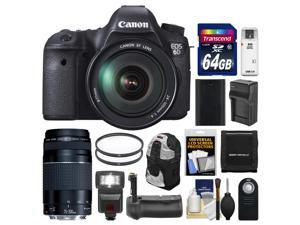 Canon EOS 6D Digital SLR Camera Body with EF 24-105mm L IS USM Lens with EF 75-300mm III Lens + 64GB Card + Sling Bag + Flash + Grip + Battery Kit