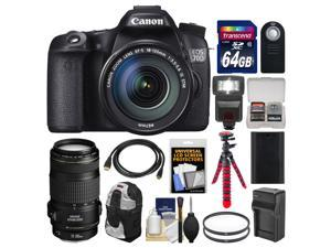 Canon EOS 70D Digital SLR Camera & EF-S 18-135mm IS STM Lens with EF 70-300mm IS Lens + 64GB Card + Backpack + Flash + Battery + Charger + Tripod Kit