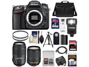 Nikon D7100 Digital SLR Camera with 18-140mm & 55-300mm VR Lenses, WU-1a, Bag & 32GB Card + 64GB Card + Battery + Flash + Filters + Remote + Tripod + Kit