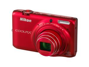 "Nikon Coolpix S6500 16 Megapixel Compact Camera - Red - 3"" AMOLED - 16:9 - 12x Optical Zoom - 4x - Optical (IS) - 4624 x 3464 Image - 1920 x 1080 Video - HDMI - HD Movie Mode - Wireless LAN - GPS"