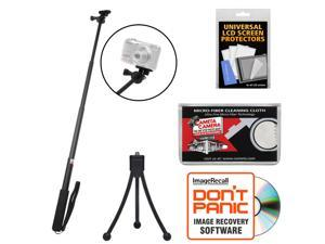 """Sunpak 3000AVW 28"""" Extendable Selfie Wand for GoPro, Action & P&S Cameras with Mini Tripod + Accessory Kit"""