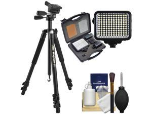 "Davis & Sanford Magnum XG 72"" Pro Photo/Video Tripod with 3-Way Fluid Pan Head & Case with LED Light Set + Cleaning Kit"