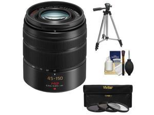 Panasonic Lumix G Vario 45-150mm f/4.0-5.6 OIS Lens for G Series Cameras (Black) with 3 (UV/CPL/ND8) Filters + Tripod + Accessory Kit
